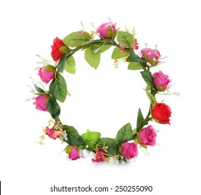 wreath of fabric flowers isolated on white
