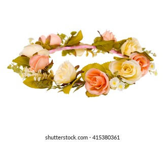 wreath of fabric flowers isolated on white background.