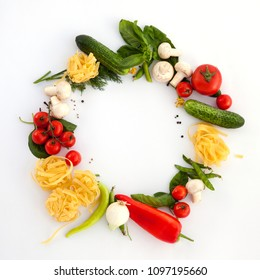 Wreath of Fine Food Products - Fresh Vegetables, Homemade Pasta and Spices on the White Backround