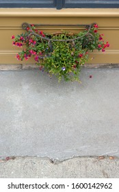 wreath  of flowers under a window concrete asphalt and woodwork background
