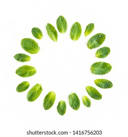 Wreath frame made of mint leaves isolated on white background. Set of peppermint. Mint Pattern. Flat lay. Top view.