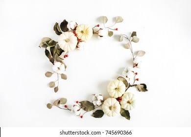 Fall flowers images stock photos vectors shutterstock wreath frame made of white pumpkins red berries and eucalyptus branches on white background mightylinksfo