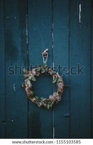 Wreath Hanging On Door Christmas Time Stock Photo Edit Now