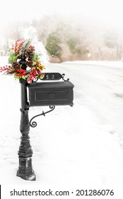Wreath on Mailbox on Country Road with Rolling Hills. Shot with copy space.