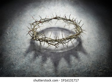Wreath Of Thorns With King Crown Shadow - Passion And Triumph Of Jesus - Shutterstock ID 1916131717