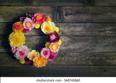 Wreath with tissue paper flowers