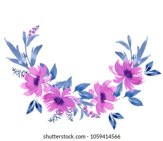 Wreath of watercolor leaves and flowers on a white background. Lilac and indigo. Floral design elements. Perfect for wedding invitations, greeting cards, blogs, logos, prints and more
