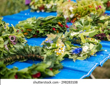 Wreaths of flowers on a festival of midsommar in Warsaw