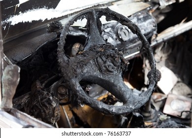 Wreck accident fire burnt wheel car vehicle junk