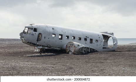 Wreck of an airplane stranded in southern Iceland