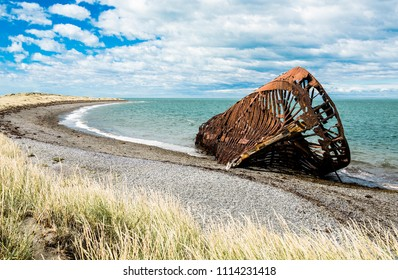 Wreck of Ambassador tea clipper build in 19th century in United Kingdom is since 1899 beached near Estancia San Gregorio, Chile