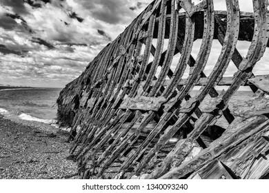 Wreck of Ambassador tea clipper build in 19th century in United Kingdom is since 1899 beached near Estancia San Gregorio, Chile