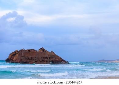 Wreck boat on the coast of boa vista in Cape Verde, Cabo Verde
