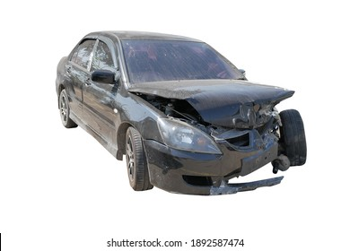 Wreck of car destroyed at the front side isolated and clipping path