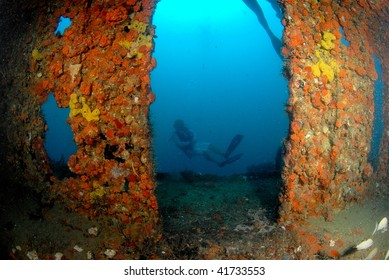 wreck dive and diver south Florida