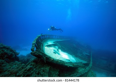 Wreck with diver