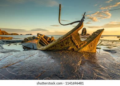 Wreck of the fishing trawler Admiral Von Tromp at Saltwick Bay near whitby, North Yorkshire, England.