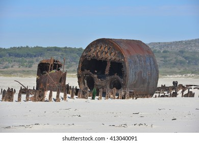 Wreck of the Kakapo wreck at Noordhoek beach in South Africa