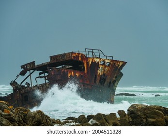 Wreck of the Meisho Maru No. 38 at Suiderstrand,. Cape Agulhas, Cape L'Agulhas, Cabo das Agulhas or Cape of Needles. Overberg. Western Cape. South Africa.