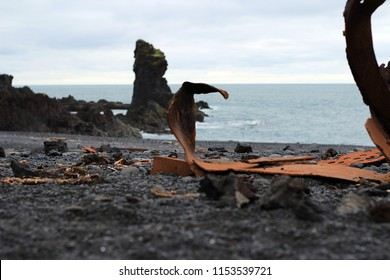 wreck parts on the beach