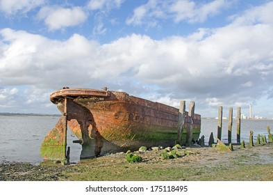 Wreck of the Tug Boat Waterloo, beside the River Medway. Tugs of this type were used to haul barges of coal on the Aire and Calder Navigation to Goole.  They were known as Tom Puddings.