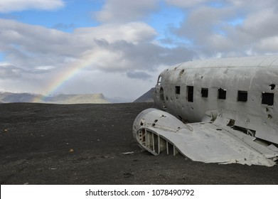 Wreckage of crashed plane on Iceland