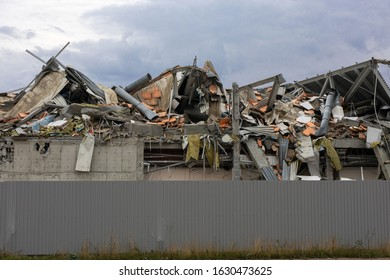 wreckage and ruins of destroyed building in city center