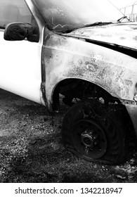 Wrecked and burned out truck car crash crashed destroyed wreck smashed
