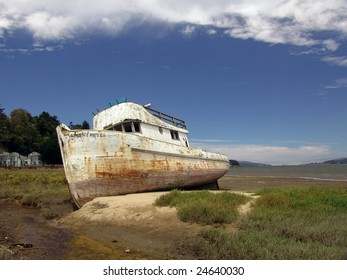 Wrecked fishing boat, Point Reyes, California, USA