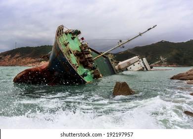 Wrecked ship along the rocky coast
