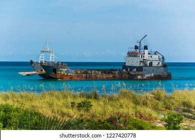A wrecked ship near the coast of Bimini