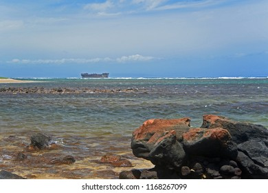 Wrecked ship on Shipwreck Beach, Lanai, Hawaii