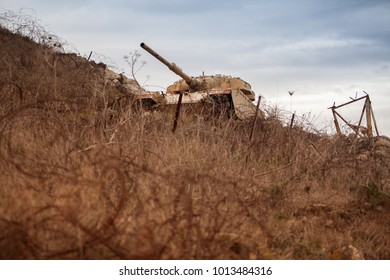 Wrecked tank in Golan Heights, Israel