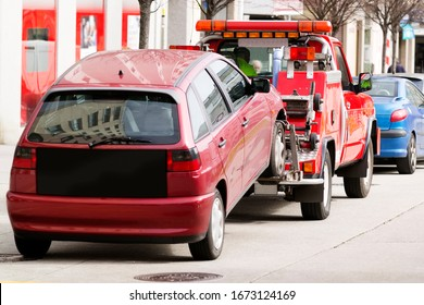 wrecker vehicle in car breakdown or parking in forbidden zone for towing