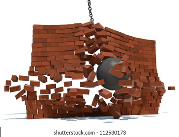A wrecking ball destroying a brick wall on a white background.