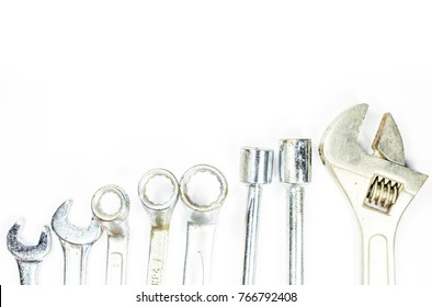 Wrench or Hand tools that many different models placed on a white background with copy space