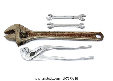 Wrench and Spanner . On a white background.