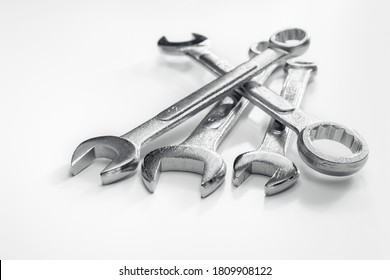 Wrench or spanner work tools on white background