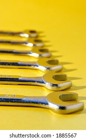Wrench tools on yellow