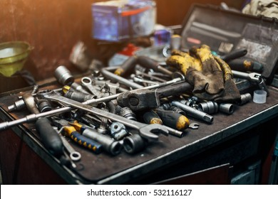 Wrenches, protective gloves, hammer, etc. Engineer workplace