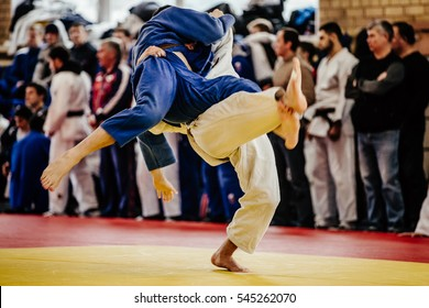 wrestlers judoka man on tatami fight of judo competitions