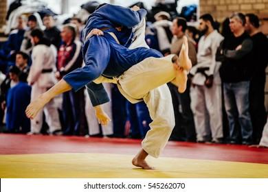 wrestlers judoka man on tatami fight of judo competitions