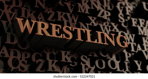 Wrestling - Wooden 3D rendered letters/message.  Can be used for an online banner ad or a print postcard.