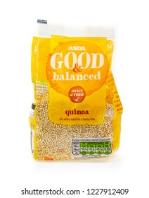 WREXHAM, UK - MARCH 31, 2017: Bag of ASDA Good and balanced quinoa, on a white background.