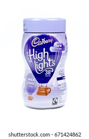 WREXHAM, UK - MARCH 31, 2017: Jar of Cadbury's Highlights instant Milk Choc chocolate drink, 38 calories per cup. On a white background.