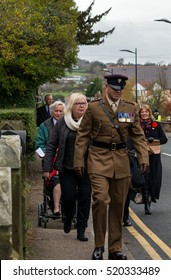 WREXHAM, UK - NOVEMBER 13, 2016: The Remembrance Parade along Coedpoeth High Street. An annual parade from St Tydfil church to the War memorial on Remembrance Sunday, also known as Poppy Day.