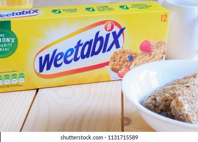 Wrexham United Kingdom - January 10 2018: Weetabix a wholewheat breakfast biscuit produced in the UK by Weetabix Limited since 1932 and one of the most popular cereals in Britain