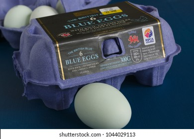 Wrexham United Kingdom - March 12 2018: The British Blue hens eggs stocked under the Aldi Specially Selected brand, developed and produced in Lincolnshire by LJ Fairburn & Son