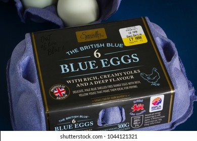 Wrexham United Kingdom - March 12 2018: The British Blue hens eggs stocked under the Aldi Specially Selected brand, developed and produced in Lincolnshire by L J Fairburn and Son