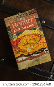 Wrexham United Kingdom - March 17 2019: A vintage 1984 paperback edition of The Hobbit written by J.R.R. Tolkien in 1937 and published by Unwin Books it has become a classic childrens story